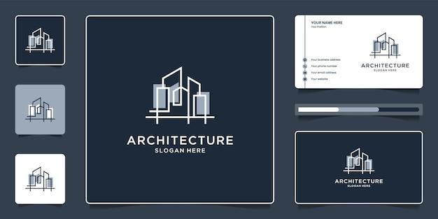 Arquitetura com design de logotipo de conceito de linha e cartão de visita