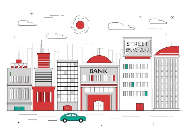 Arquitetura da cidade em design plano de linhas finas Vetor Premium