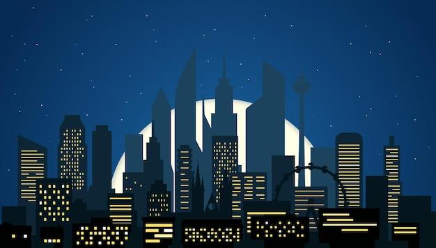 Arquitetura da cidade moderna à noite illustartion. cena noturna de cidade grande