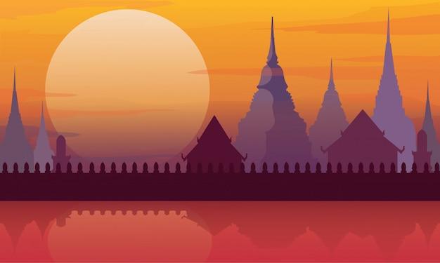 Arquitetura da paisagem do templo de tailândia