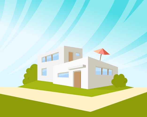 Arquitetura de casa com gramado verde e guarda-chuva.