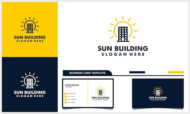 Arquitetura de construção com sol, nascer do sol, conceito de design de logotipo do pôr do sol e modelo de cartão de visita