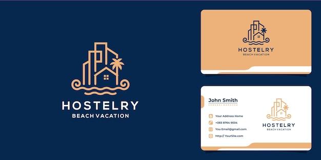 Arquitetura de férias na praia de hostelry e construção de design de logotipo de luxo com cartão de visita