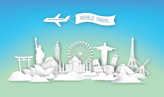 Arquitetura de marcos de viagens do mundo.