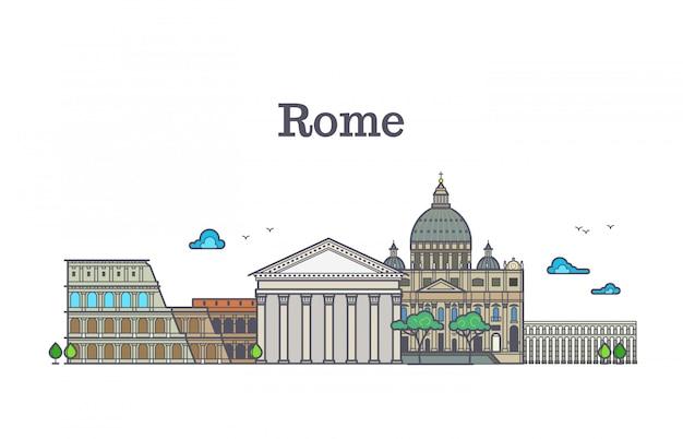 Arquitetura de roma de arte linha, ilustração em vetor edifícios itália