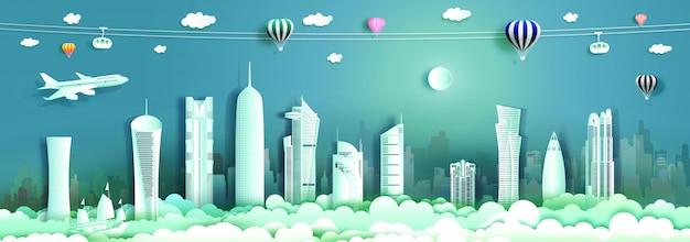 Arquitetura de viagem qatar com edifício moderno, horizonte, arranha-céu.