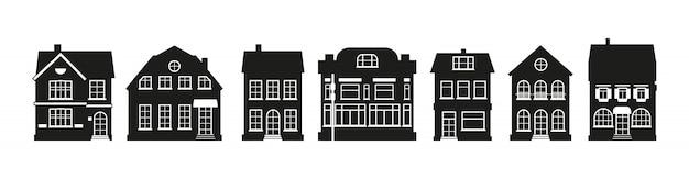 Arquitetura diferente, construção de cidade alta. conjunto de amsterdam silhueta negra casas