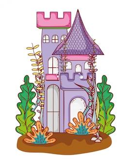 Arquitetura do castelo medieval com folhas de plantas de galhos