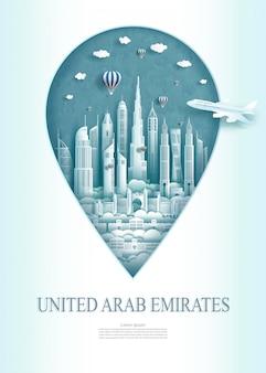 Arquitetura do monumento dos emirados árabes unidos do marco do curso moderna de abu dhabi.