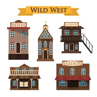 Arquitetura do oeste selvagem. salão, hotel e xerife