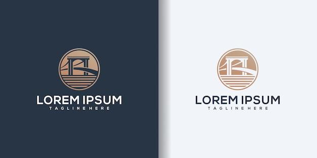 Arquitetura e construções de pontes. vetor de design de logotipo.
