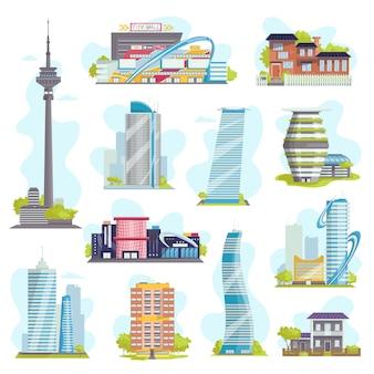 Arquitetura e edifícios modernos da cidade, casas particulares, arranha-céus urbanos, imóveis ou edifícios públicos, hotéis. coleção de ícones de construção.