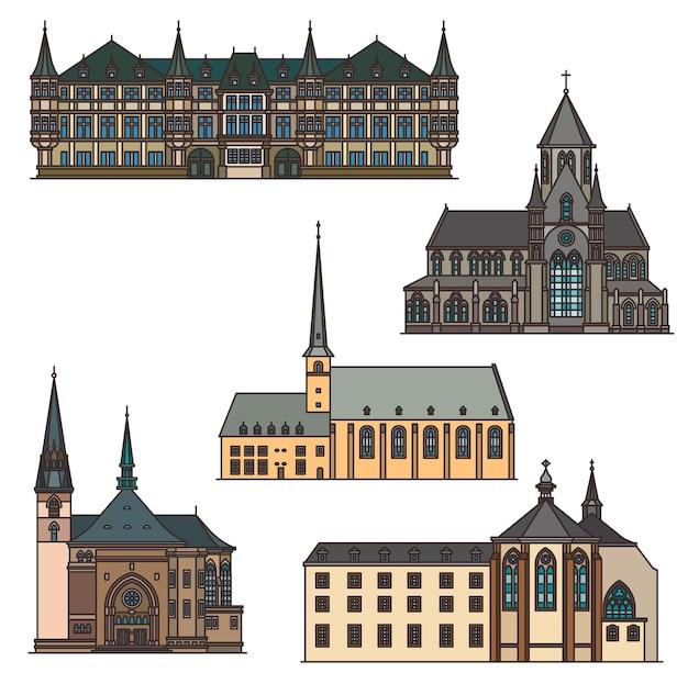 Arquitetura e marcos de viagens de luxemburgo, edifícios de turismo da cidade de vetor. igreja da santa trindade de luxemburgo em vianden, onze lieve vrouwe van tamele, grande palácio ducal e abadia de neumunster