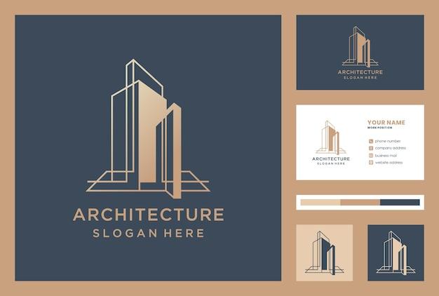 Arquitetura elegante / design de logotipo de construção com tempalte de cartão de visita.