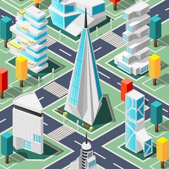 Arquitetura futurista isométrica