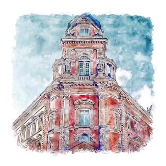 Arquitetura hamburgo alemanha esboço em aquarela desenhado à mão