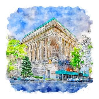 Arquitetura inglaterra esboço em aquarela ilustração desenhada à mão