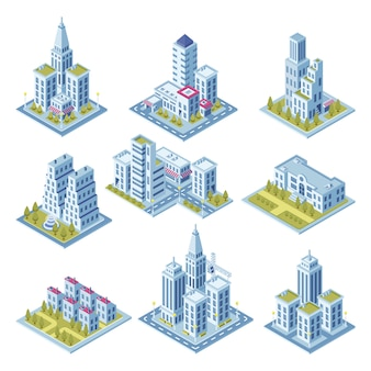 Arquitetura isométrica da cidade, construção da arquitetura da cidade, jardim da paisagem e arranha-céus do escritório para negócios.