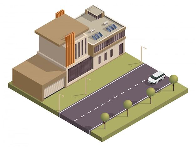 Arquitetura isométrica de construção ao longo da rua de transporte.