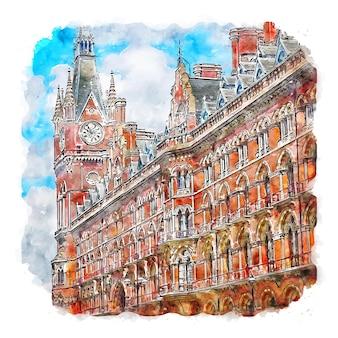 Arquitetura londres esboço em aquarela ilustração desenhada à mão