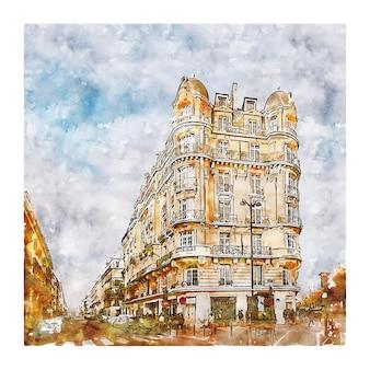 Arquitetura paris frança esboço em aquarela ilustração desenhada à mão
