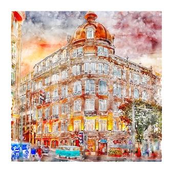 Arquitetura portugal esboço em aquarela ilustração desenhada à mão