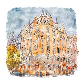 Arquitetura praga república tcheca ilustração de aquarela esboço desenhado à mão