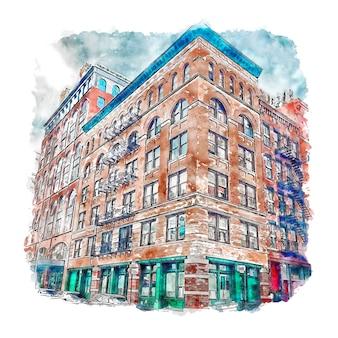 Arquitetura tribeca new york city desenho em aquarela ilustração desenhada à mão