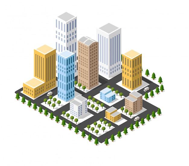 Arquitetura urbana isométrica de vetor