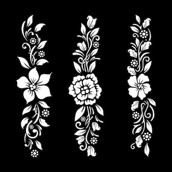 Arquivo de corte floral preto e branco com desenho de tatuagem temporário Vetor Premium