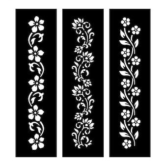 Arquivo de corte floral preto e branco