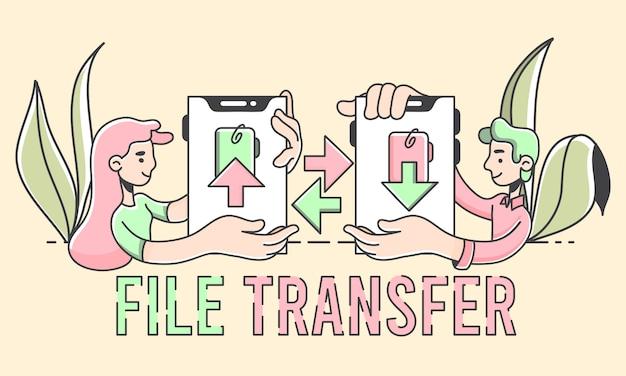 Arquivo de menino e menina, transferindo a ilustração de armazenamento