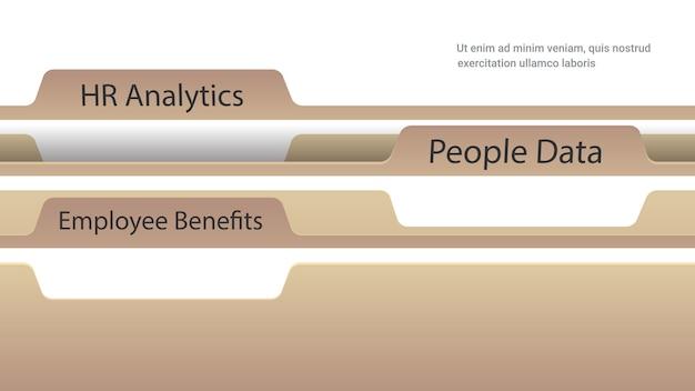Arquivo de pastas de registro com benefícios para funcionários análise de rh e documentos de dados de pessoas, cartões de índice, cópia horizontal, espaço, vetorial, ilustração
