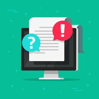 Arquivo de texto da internet ou documento da web comentários e avisos de observação on-line no computador de mesa pc computador plana dos desenhos animados