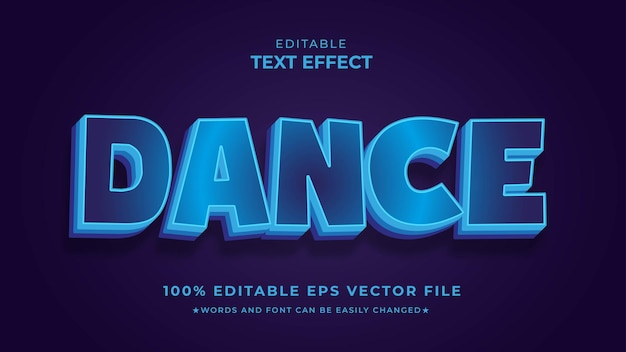 Arquivo de vetor eps editável de efeito de texto de dança