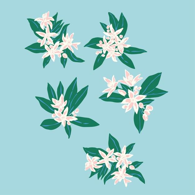 Arquivo digital de ilustrações de pequenos motivos de flores e folhas feitas à mão em vetor, recurso gráfico
