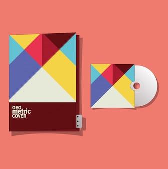 Arquivo e cd de capa geométrica