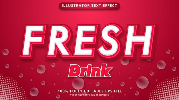Arquivo eps de efeito de texto de bebida fresca