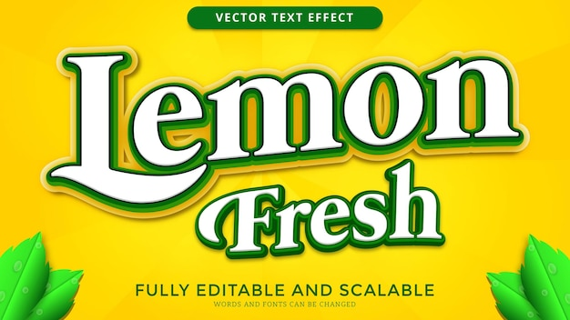 Arquivo eps editado de efeito de texto de limão fresco