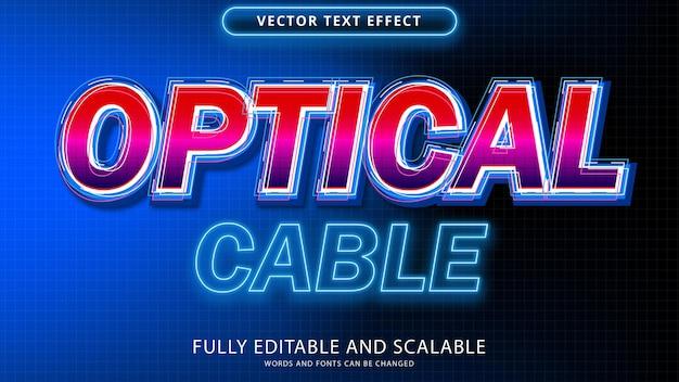 Arquivo eps editável de efeito de texto de cabo óptico