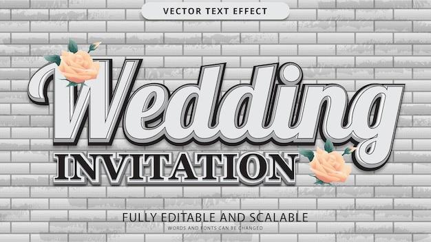 Arquivo eps editável de efeito de texto de convite de casamento