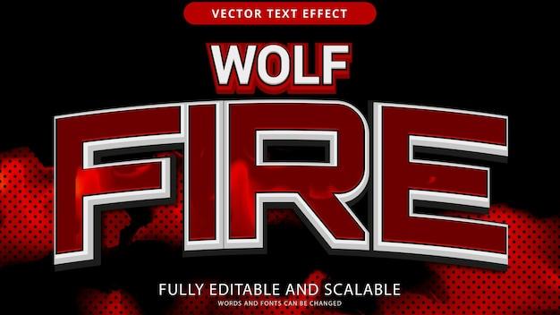 Arquivo eps editável de efeito de texto de fogo lobo