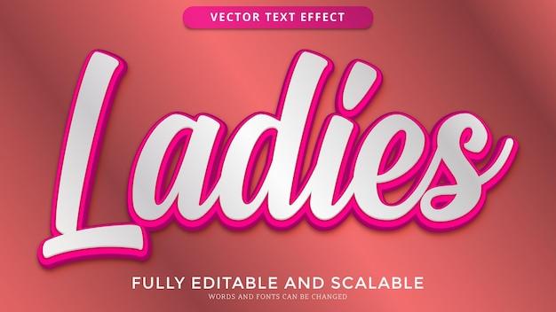 Arquivo eps editável de efeito de texto feminino