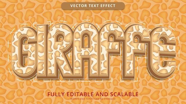 Arquivo eps editável de efeito de texto girafa