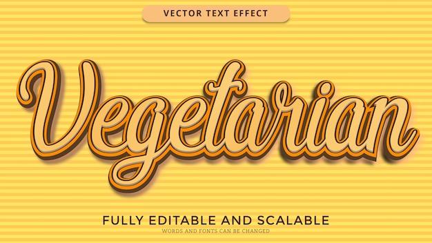 Arquivo eps editável de efeito de texto vegetariano