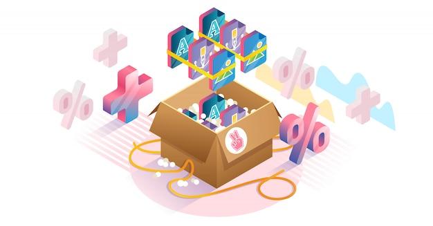 Arquivo gráfico, pacotes, isometric, conceito