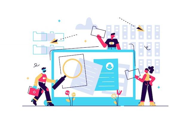 Arquivo organizado. pesquisando arquivos no banco de dados. gerenciamento de registros, gerenciamento de registros e informações, conceito de sistema de rastreamento de documentos. ilustração isolada rosa coral azul
