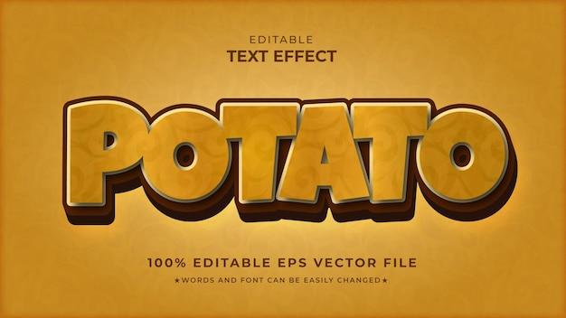 Arquivo vetorial editável de efeito de texto de batata