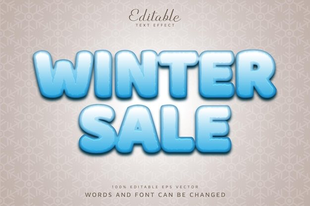 Arquivo vetorial eps de efeito de texto editável de venda de inverno