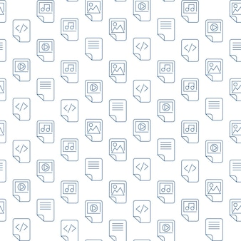 Arquivos de mídia esboçam ícones em fundo branco. design moderno de padrão sem emenda da web